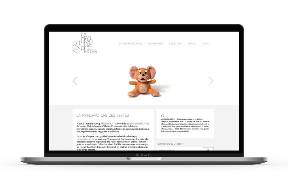 Site web http://lamanufacturedestextes.fr © Aurélien Biard